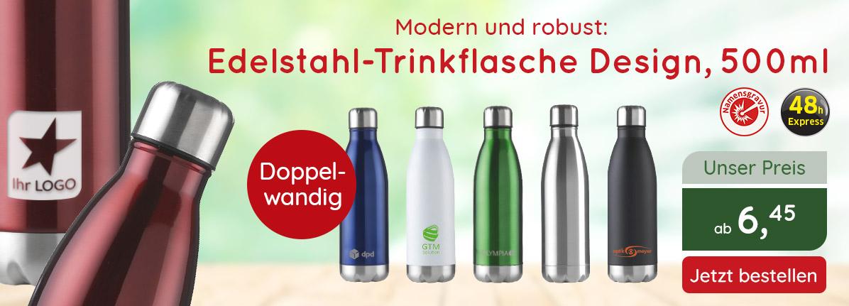 Edelstahl-Trinkflasche Design bei Saalfrank – Qualitäts-Werbeartikel