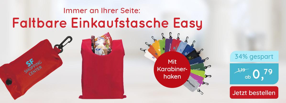 Faltbare Einkaufstasche Easy  – Saalfrank Qualitäts-Werbeartikel
