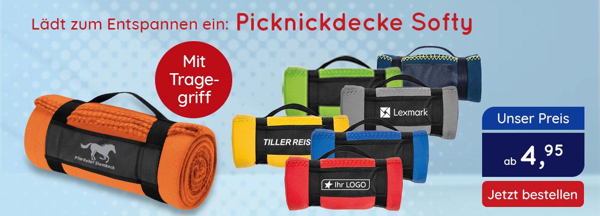 Picknick Fleece Decke Softy bei Saalfrank – Qualitäts-Werbeartikel