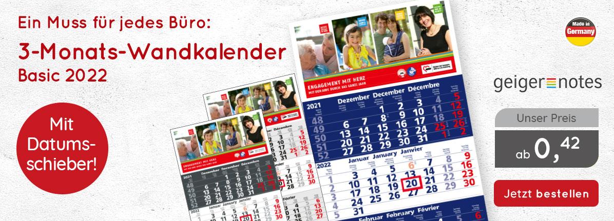 3-Monats-Wandkalender Basic 2022 bei Saalfrank – Qualitäts-Werbeartikel