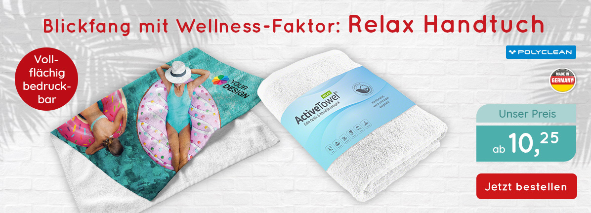 POLYCLEAN Handtuch ActiveTowel Relax bei  Saalfrank – Qualitäts-Werbeartikel