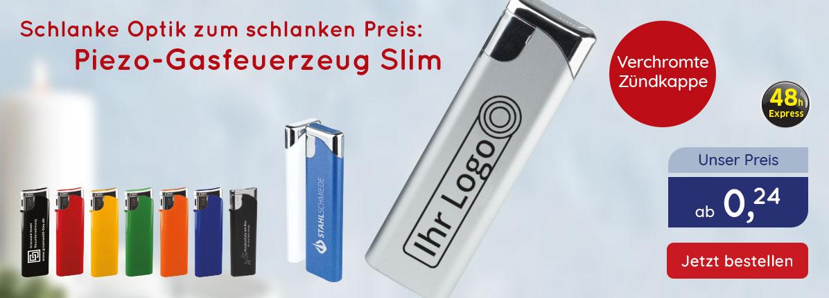 Piezo-Gasfeuerzeug Slim bei Saalfrank – Qualitäts-Werbeartikel