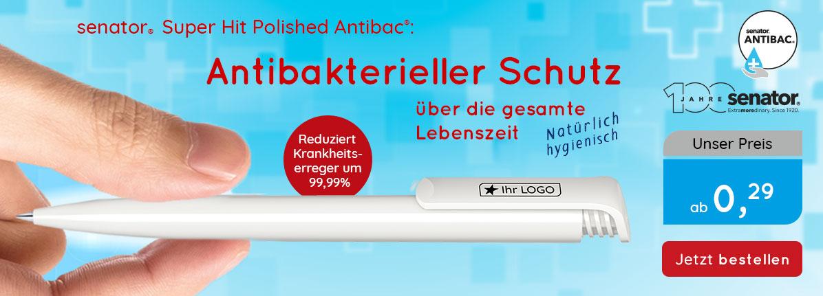 Senator Kugelschreiber Challenger-Polished-Antibac – Saalfrank Qualitäts-Werbeartikel