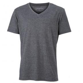 Original James   Nicholson V-Neck T-Shirt für Herren Schwarz Melange   8ccbe7f0fb
