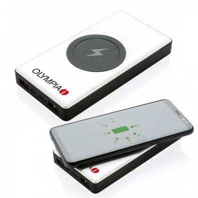 10.000 mAh Powerbank mit PD und wireless charging, silber