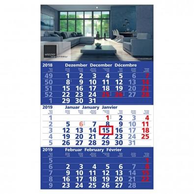 3-Monats-Wandkalender Basic 2019 Blau