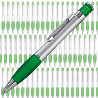 Werbe-Set: 500 LANCE Druckkugelschreiber Nevada Silber/Grün