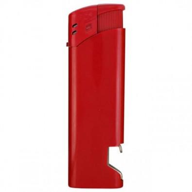 Piezo-Feuerzeug mit Flaschenöffner, Rot