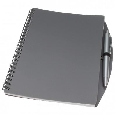 Notizbuch Busy mit Kugelschreiber, DIN A5, Grau