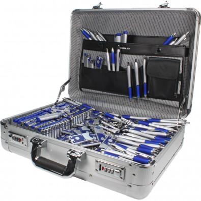 Werbe-Sparset Koffer, 501-tlg., Silber/Blau