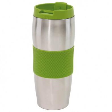 Edelstahl-Isolierbecher Kaffeepause Silber/Apfelgrün
