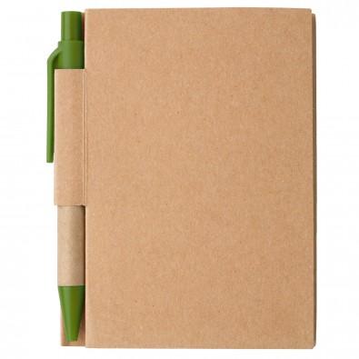 Notizbuch mit Kugelschreiber Mini, Natur/Grün