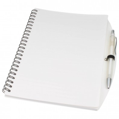 Notizbuch Busy mit Kugelschreiber, A5 Weiß   A5