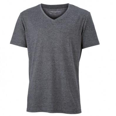 Original James  Nicholson V-Neck T-Shirt für Herren, Schwarz/Melange, XL