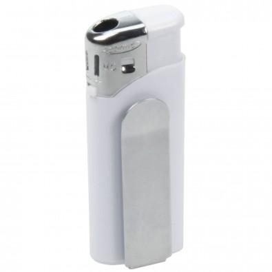 Piezo-Feuerzeug mit Metall-Clip Mini, Weiß