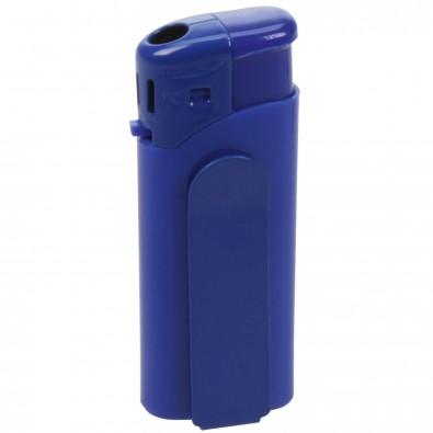 Piezo-Feuerzeug mit Metall-Clip Mini Blau