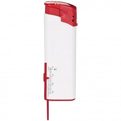 Piezo-Feuerzeug mit Reifenprofilmesser Weiß/Rot