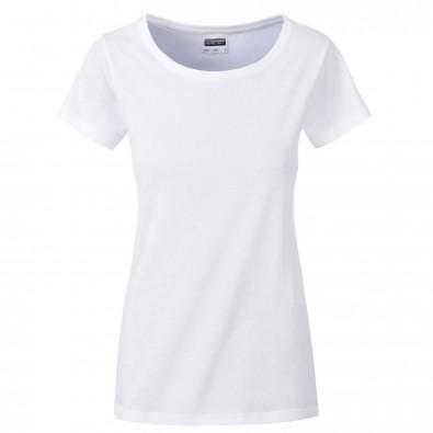 Original James  Nicholson Damen Basic T-Shirt aus Bio-Baumwolle, White, XS