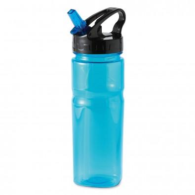 Trinkflasche mit Trinkhalm Colour, Blau