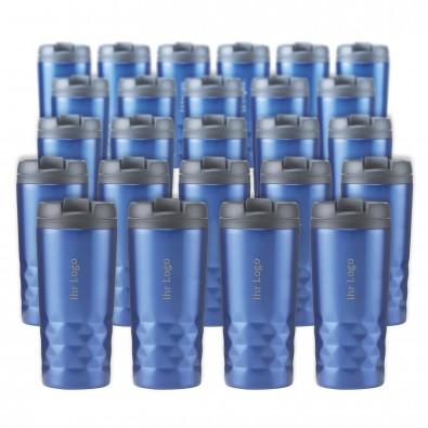 Werbe-Sparset Thermobecher, 24-tlg., Blau-Metallic