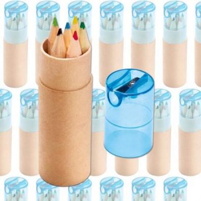 Werbe-Set: 150 Teile Buntstiftebox mit Spitzer, Blau