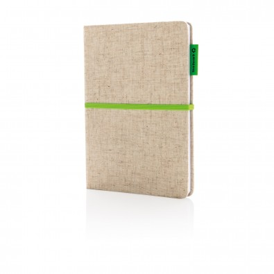 A5 Eco Jute Baumwoll-Notizbuch, grün, grüngrün