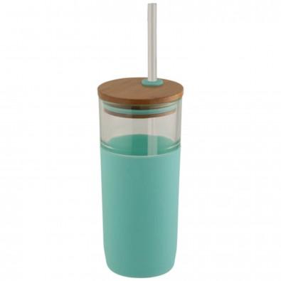 Arlo 600 ml Glasbecher mit Bambus Deckel, mintgrün