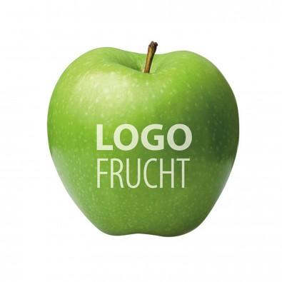 Frisch, gesund und lecker - Grüner Apfel mit Logo