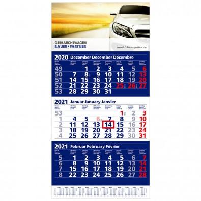 MAXI 3-Monats-Wand-Kalender 2020, Dunkelblau