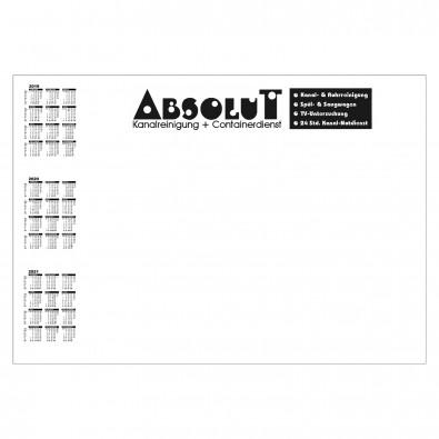 Schreibunterlage, mit Kalender links, inkl. 1-farbigem Druck