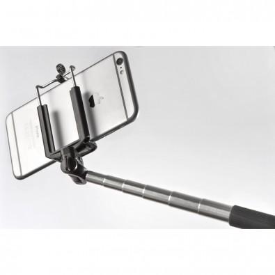 Selfie-Stick aus Kunststoff und Edelstahl, schwarz
