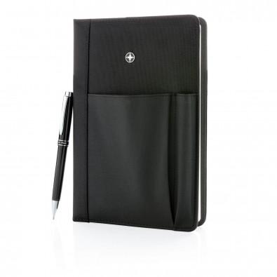 Swiss Peak Notizbuch und Stift, schwarz