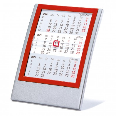 2-Jahres-Kalender Small 2021/2022, Silber/Rot