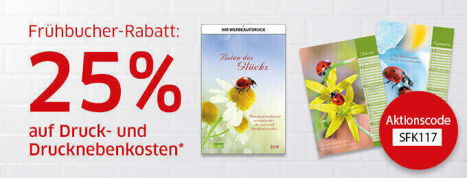 Frühbucher-Rabatt Kalender 2018